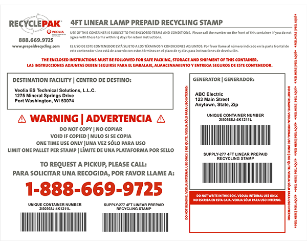 SUPPLY-277- 4FT LINEAR LAMP PREPAID RECYCLING STAMP